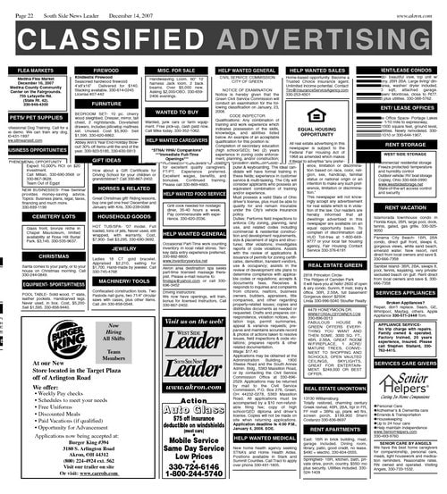 Classified advertising - 1