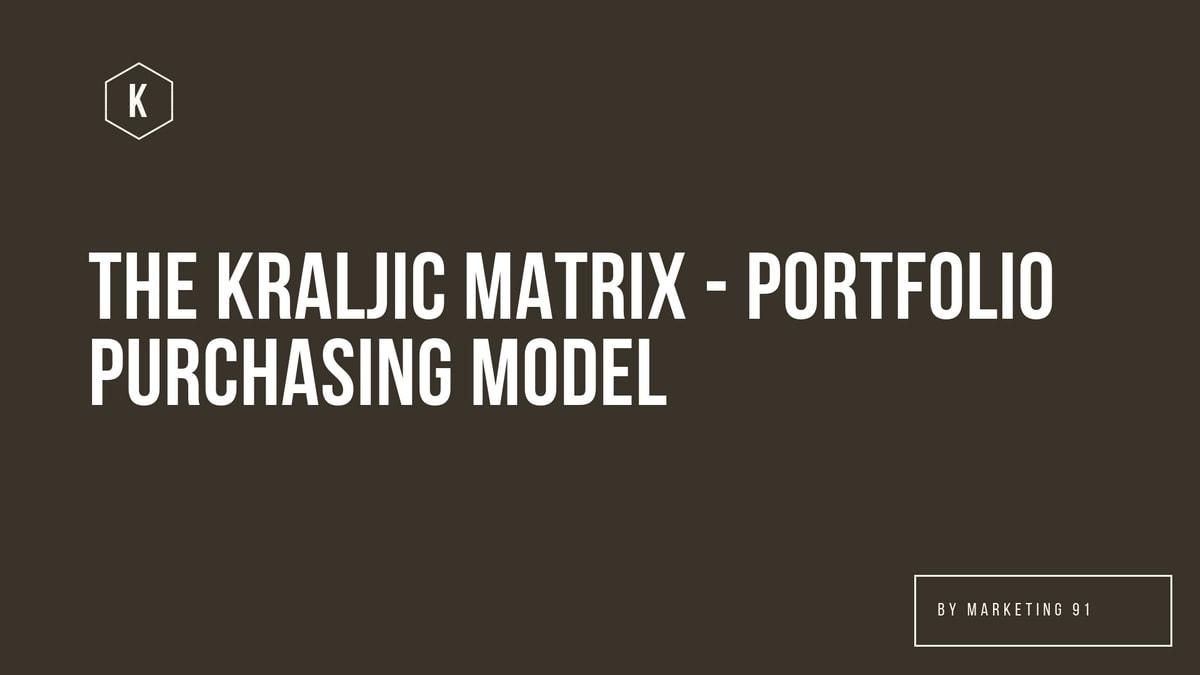 What is The Kraljic Matrix – Portfolio Purchasing Model?