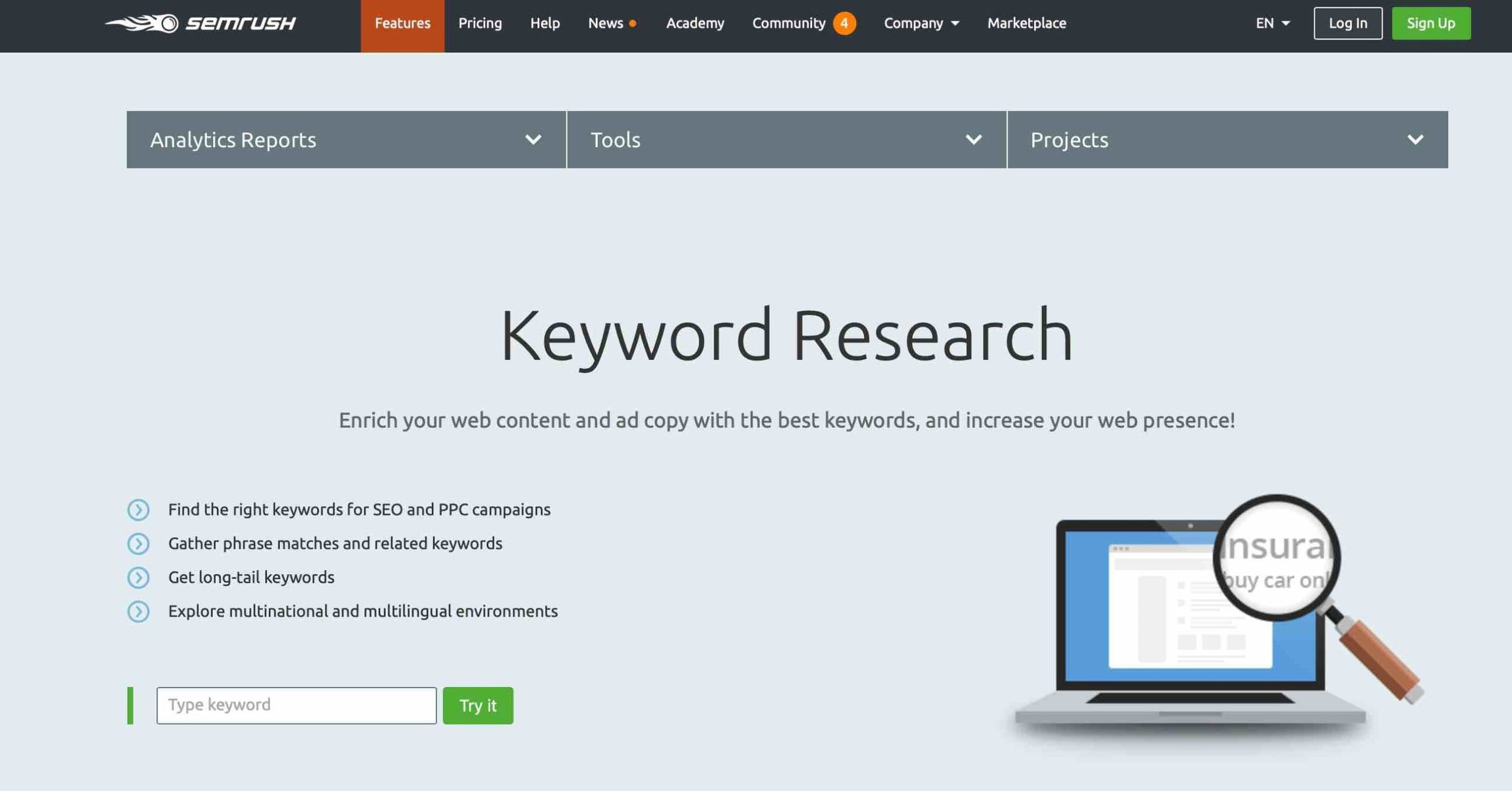 Find the right keywords for SEO