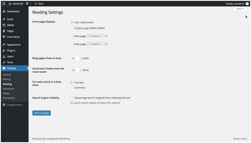 WordPress settings - 3