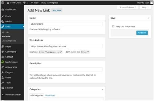 add Links to WordPress Blog - 4