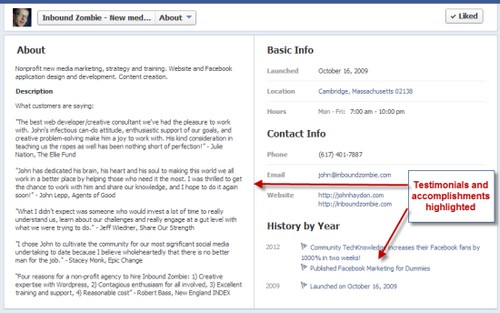 Facebook About Section Examples - 4
