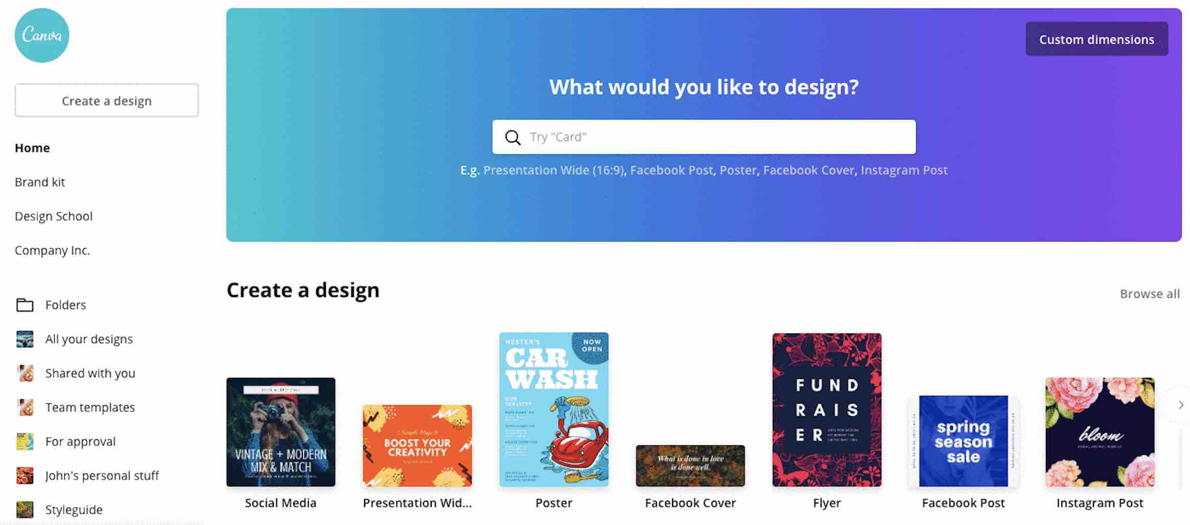 Screenshot of Canva home page
