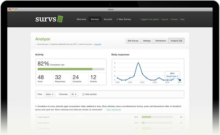 Survs lets you create professional surveys easily with your team