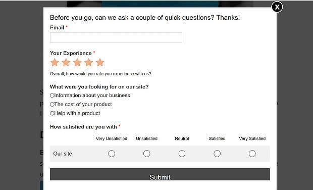 Pop-up survey