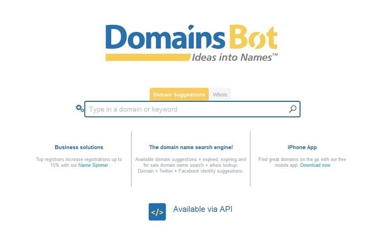 Quality domain name suggestions on all TLDs