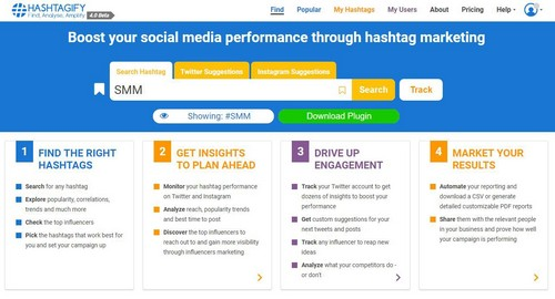 Hashtagify marketing tools