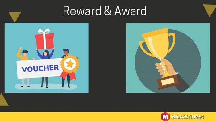 The key difference between Award and Reward