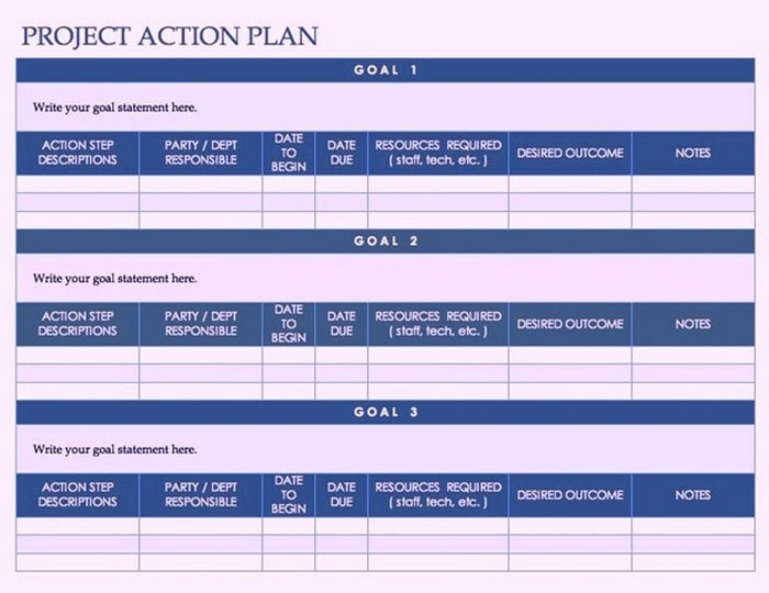Template for a Project Action Plan in Word