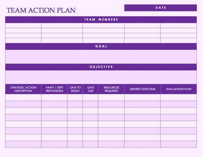 Template for a Team Action Plan in Word
