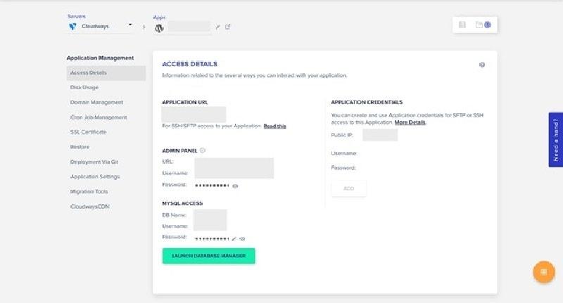 cloudways server access details