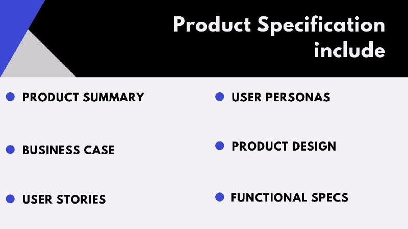 What does a Product Specification include