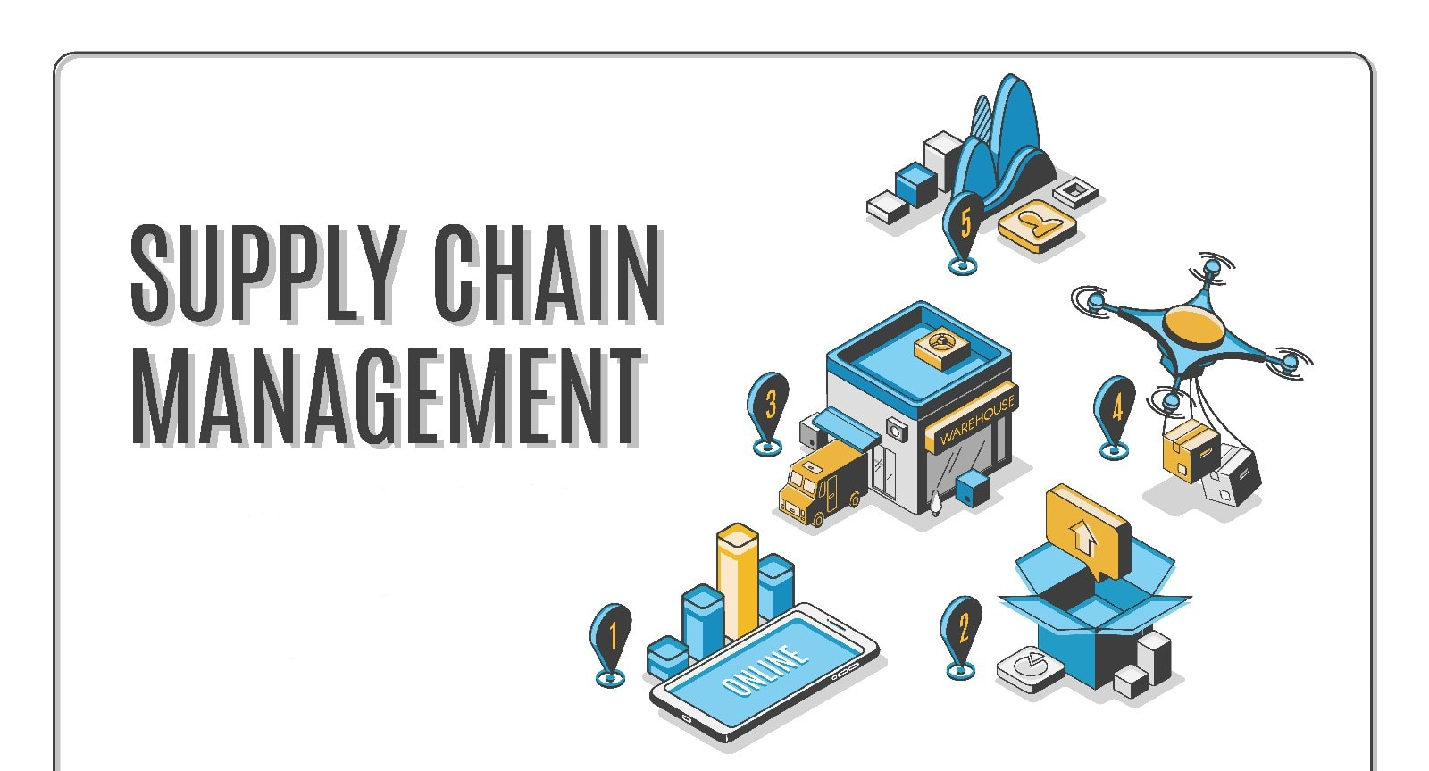 Supply chain management isometric landing banner