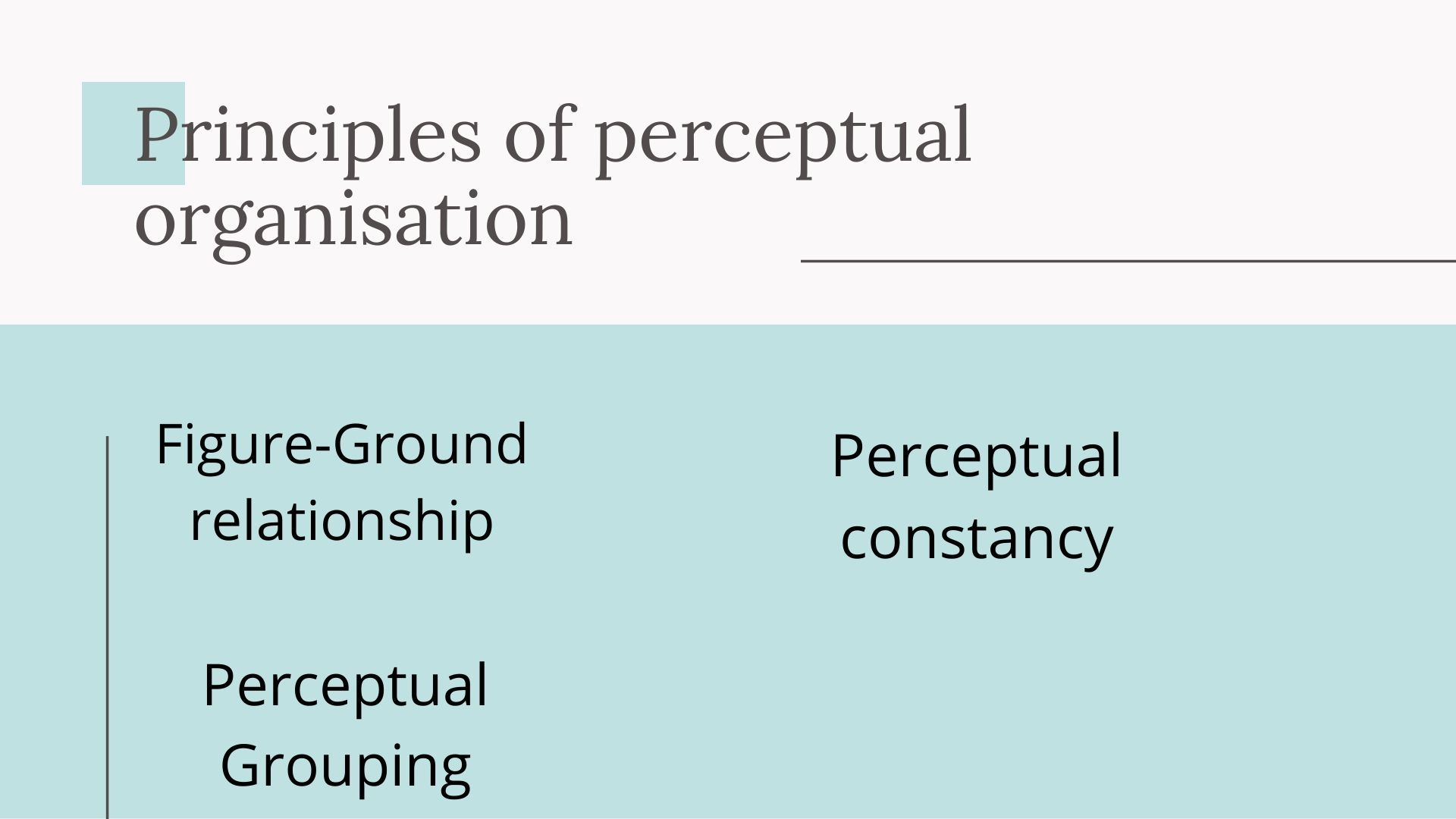 Principles of perceptual organisation