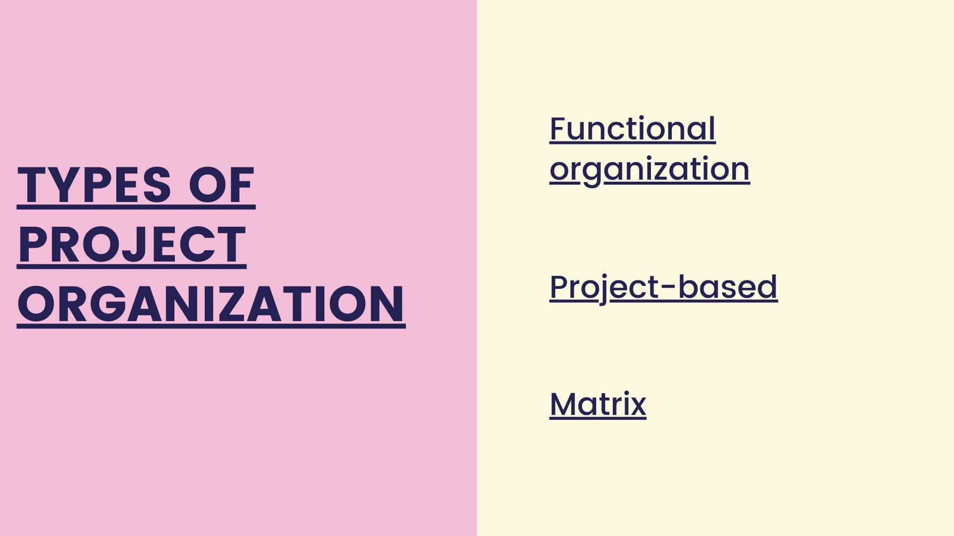 Types of project organization