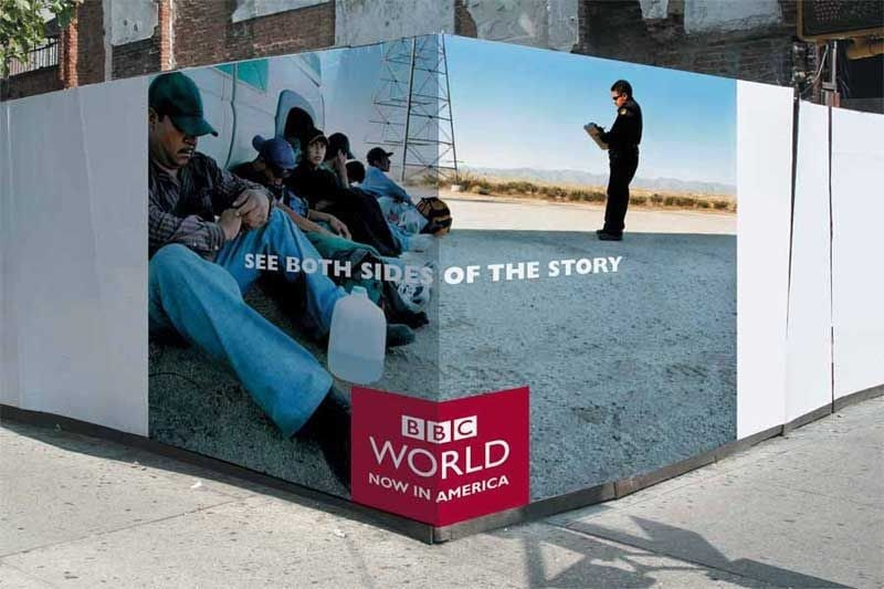 In this creative ad, you can see what out-of-the-box advertising is. The ad adeptly utilized the natural surroundings of the place where the ad is placed. They used the existing telephone wires as an integral part of their ad image by interestingly, creatively, and relevantly incorporating them in the ad image. 9. BBC World Creative Advertising