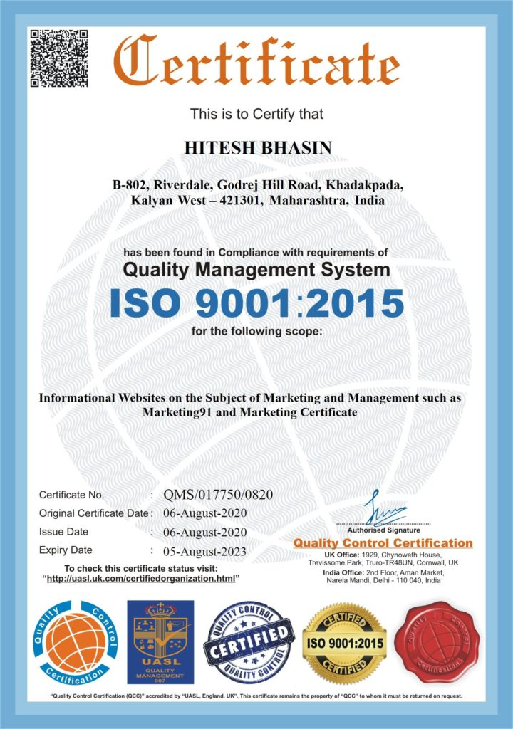 ISO Certification for Hitesh Bhasin Marketing91