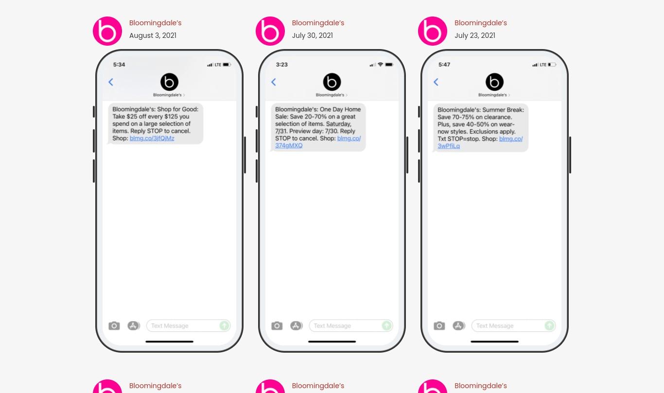 استراتيجية التسويق عبر الرسائل النصية القصيرة لـ Bloomingdales